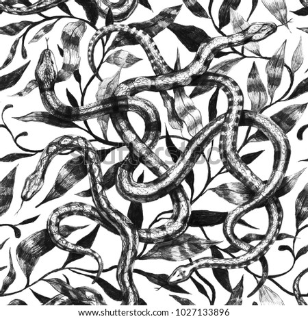 Snake hand draw seamless pattern pencils vintage. Design for fabric, paper, textile.