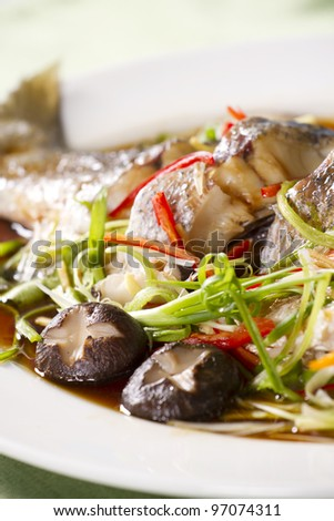 snake-head fish dish, snake-head fish steamed with soy sauce - stock photo