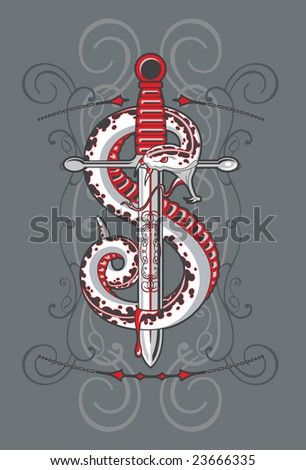 snake knife tattoo design