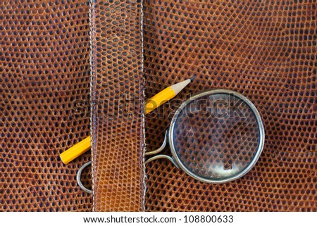 Snake leather texture background with magnifying glass and pencil