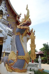 Snake sculpture or thai name Naga is the local buddhist sculpture in temples of Thailand.