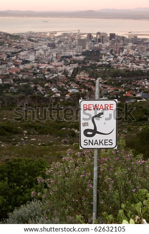 Snake sign and Cape Town (South Africa).