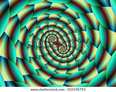 Snake Skin Spiral in Green and Yellow/Digital abstract image with a double spiral design in yellow, green and blue
