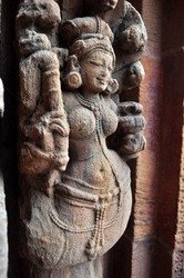 Snake woman,  anciet indian temple sculpture. Bhubaneswar, Odisha, India.