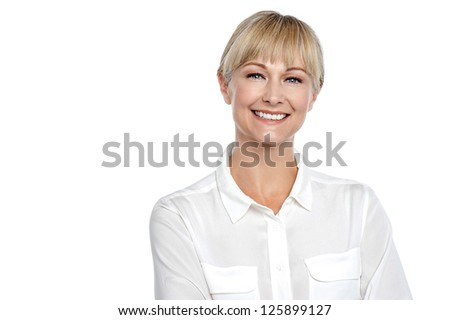 Snap shot of a cheerful confident business executive posing with a smile. #125899127