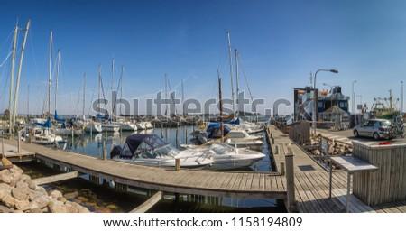 Snaptun harbor with ferry to Endelave in Jutland, Denmark #1158194809