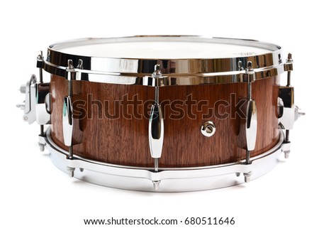 Snare drum made with merbau wood isolated