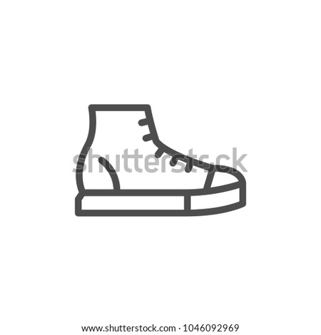 Sneaker line icon isolated on white