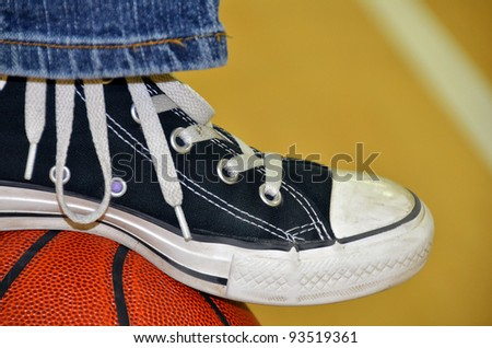 sneaker resting on a basketball