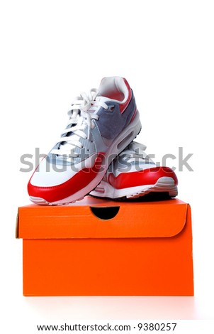 Sneaker with box on white background