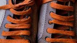 Sneakers close up. Shoelace of sport shoes macro texture. Shoes on wood board.