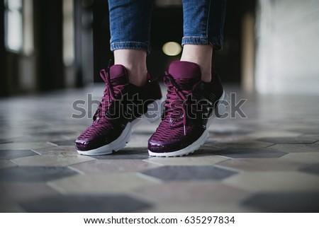 sneakers macro urban background