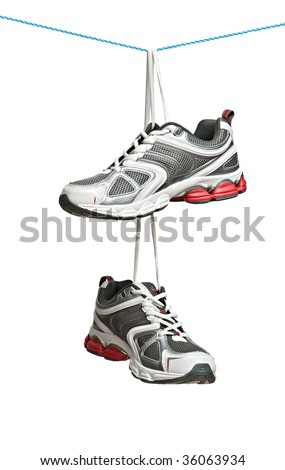 Sneakers on line isolated on white background