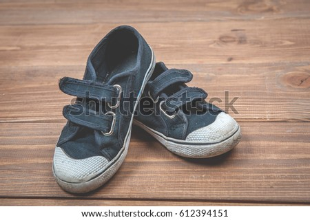 sneakers on wooden background....