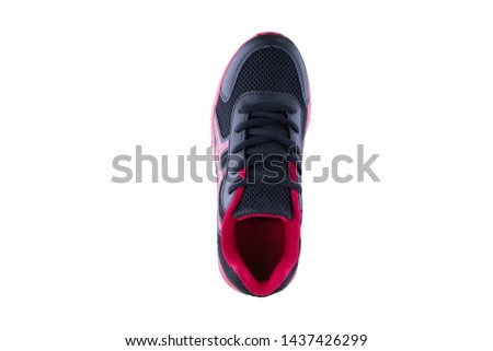 Sneakers Sneakers pink black. Sports shoes side view on a white background.