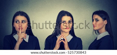 Sneaky, sly, scheming young woman plotting something. Human emotions, facial expressions, feelings, attitude