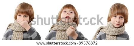 sneeze boy isolated on white background