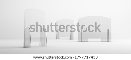 Sneeze guards, social distancing barriers and shields. Help maintain social distance and physical separation while protecting from splashes and sprays with clear plastic barriers. Foto stock ©