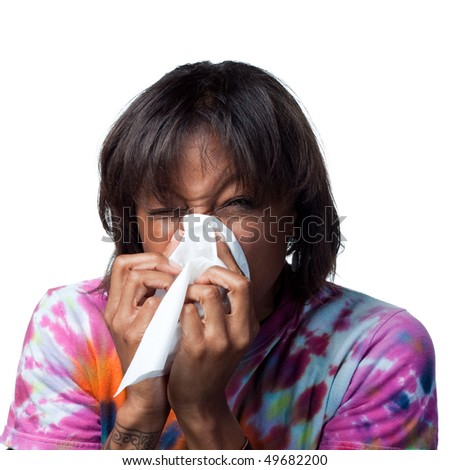 Sneezing into a tissue