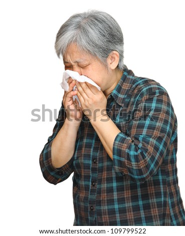sneezing mature asian woman