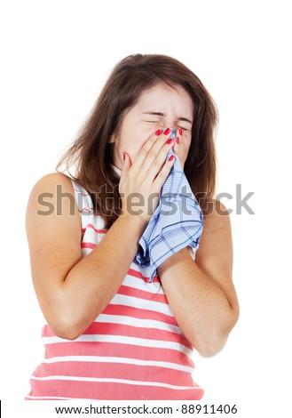 sneezing sick girl with handkerchief. Isolated on white background ...
