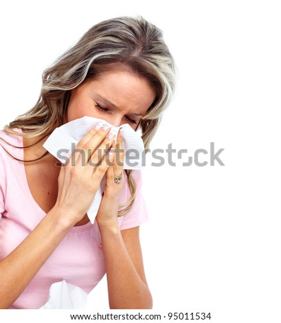 Sneezing Woman having cold. Isolated on white background. - stock ...
