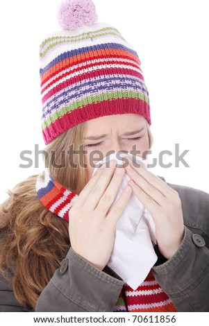 Sneezing woman with handkerchief , isolated on white