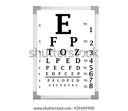 Snellen Eye Chart Test Box On A White Background 3d Rendering Ez