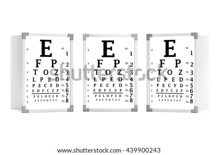 Snellen Eye Chart Test Boxes On A White Background 3d Rendering