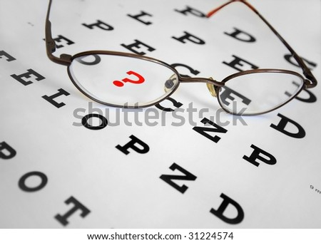 snellen eye chart with question mark - stock photo