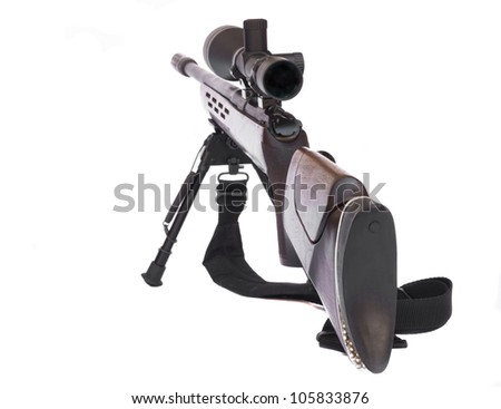 Sniper Rifle with scope attached on a tripod rear view isolated on white background