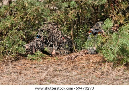 Sniper with rifle hidden in bushes, with observer, precise shoot, confirmed kill.