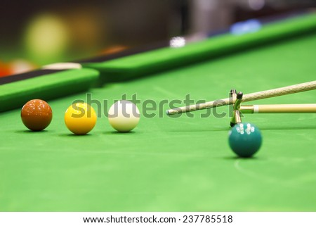 Snooker ball and rest stick #237785518