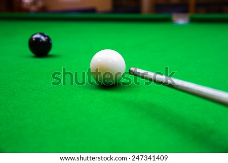 Snooker ball on snooker table, Snooker or Pool game on green table, International sport. #247341409