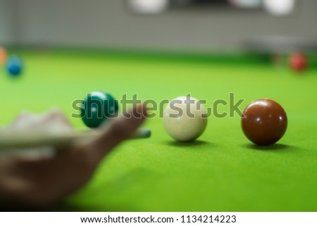 snooker ball on the green snooker table. #1134214223
