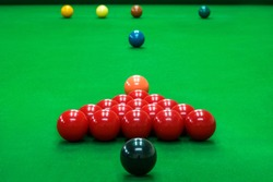 snooker ball on the green snooker table at snooker club.