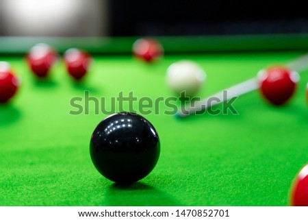 Snooker balls on the green table for playing entertainment of man #1470852701
