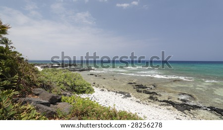 Snorkeling Beach with White and Black Volcanic Rocks, Kona, HI