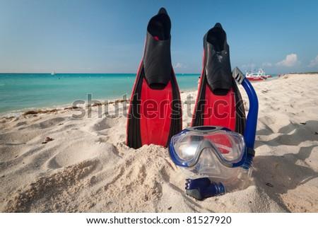 Snorkeling equipment at the Caribbean Sea