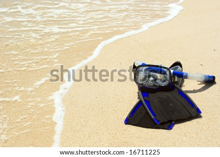 Snorkeling mask on the beach