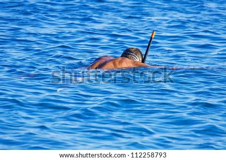 Snorkeling men in Crete Greece