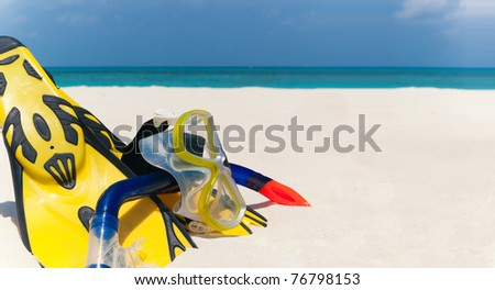 snorkeling set on the the beach