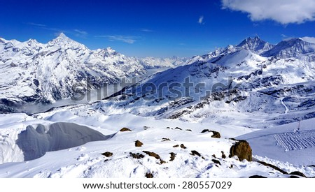 snow alps mountains and blue sky, zermatt, switzerland #280557029