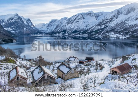 Snow and cold in winter landscape . Photo from Flo in Oppstryn , in Norway .  #1526239991