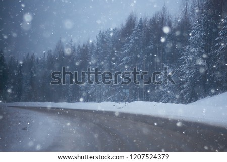 Stock Photo snow and fog on the winter road landscape / view of the seasonal weather a dangerous road, a winter lonely landscape