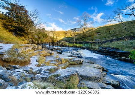Snow and Ice  at Ingleton Falls, UK - stock photo