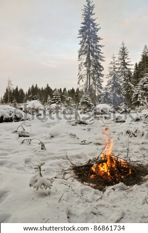 Snow around and only fire let survive tough time