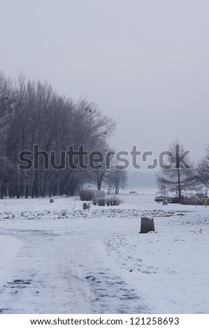 Snow at a park in Poznan, Poland