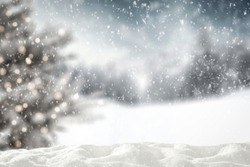 Snow background of free space for your decoration and christmas tree with frost. Xmas time and cold day.