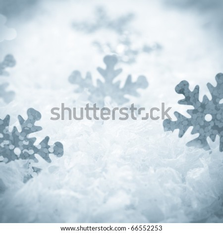 Snow background with cover and snowflakes - stock photo